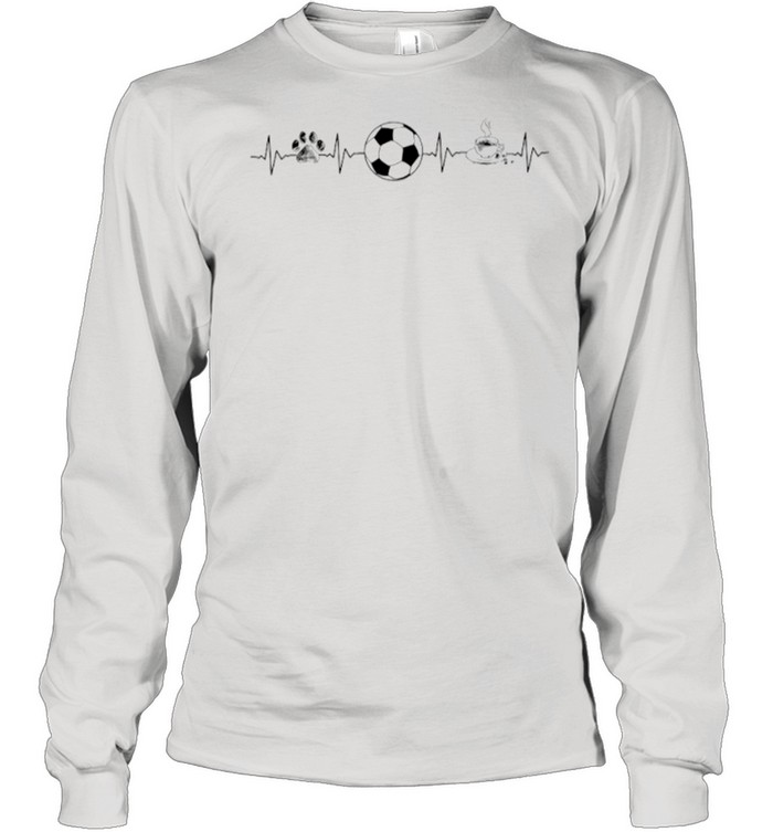 Heartbeat Dog Soccer And Coffee shirt Long Sleeved T-shirt