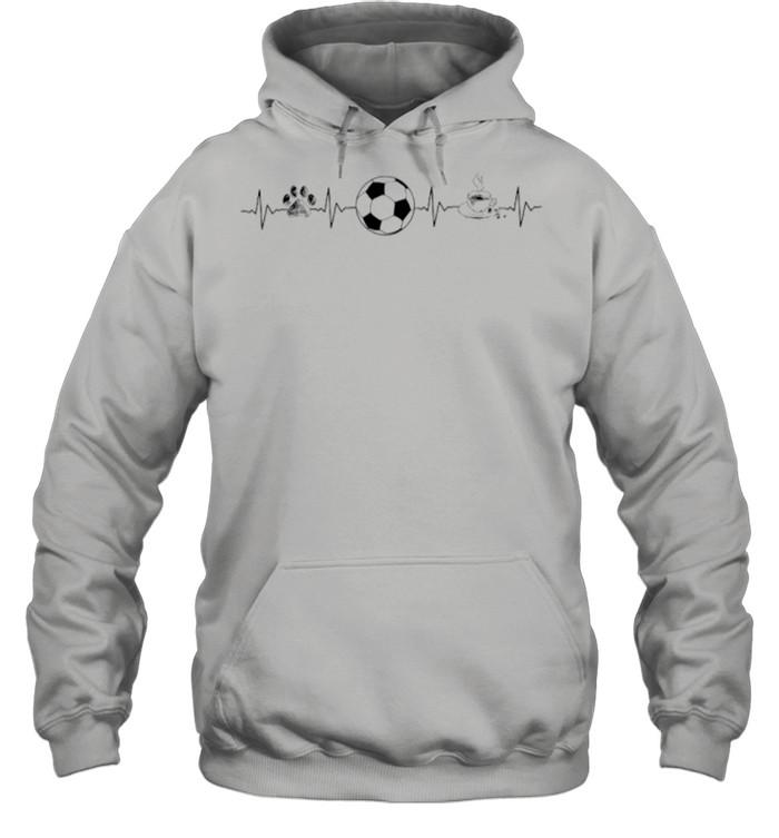 Heartbeat Dog Soccer And Coffee shirt Unisex Hoodie