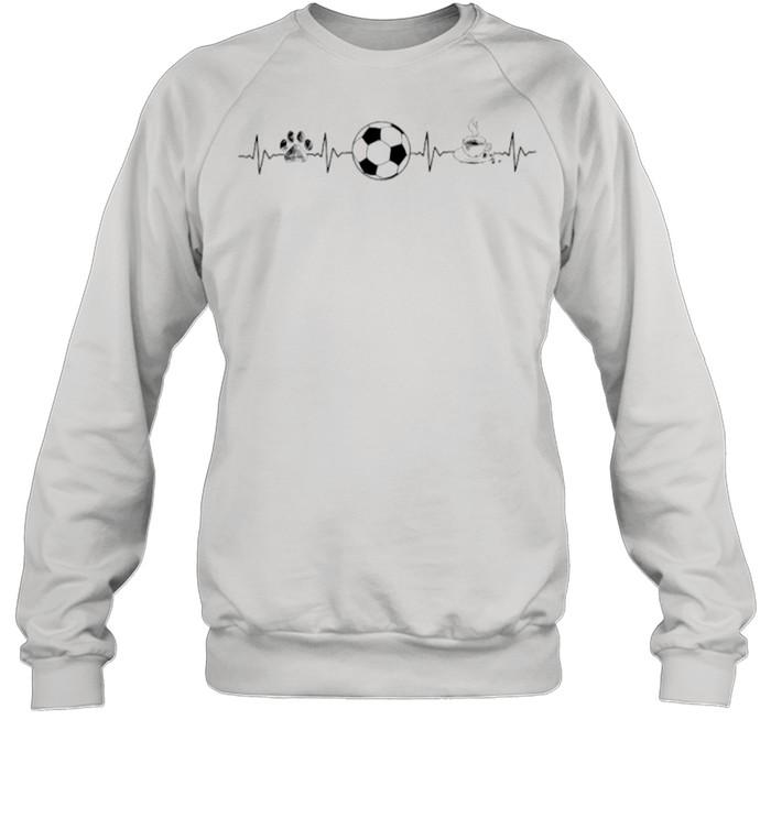 Heartbeat Dog Soccer And Coffee shirt Unisex Sweatshirt