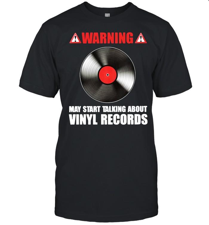 Warning May Start Talking About Vinyl Records Classic Men's T-shirt