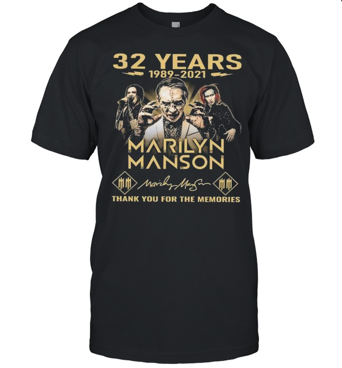 32 Years 1989 2021 Marilyn Manson Thank You For The Memories Signatures  Classic Men's T-shirt