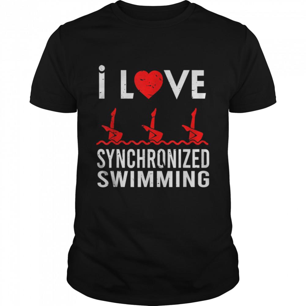 I love Synchronized Swimming Swimmer Sport shirt Classic Men's T-shirt