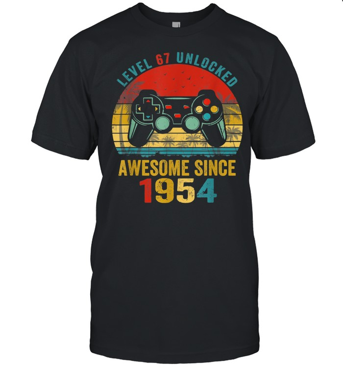 ~tmp90_Level 67 Unlocked Awesome Since 1954 Video Game 67th Bday  Classic Men's T-shirt