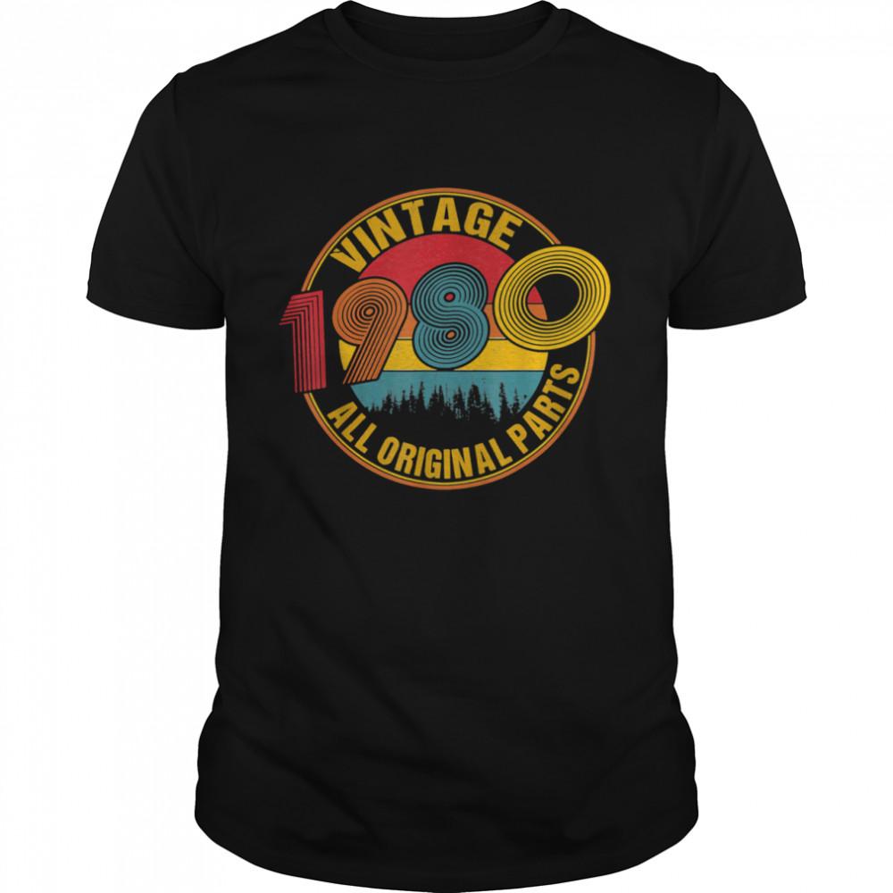 Vintage Born In 1980 Birthday Celebration Idea Retro Sunset  Classic Men's T-shirt