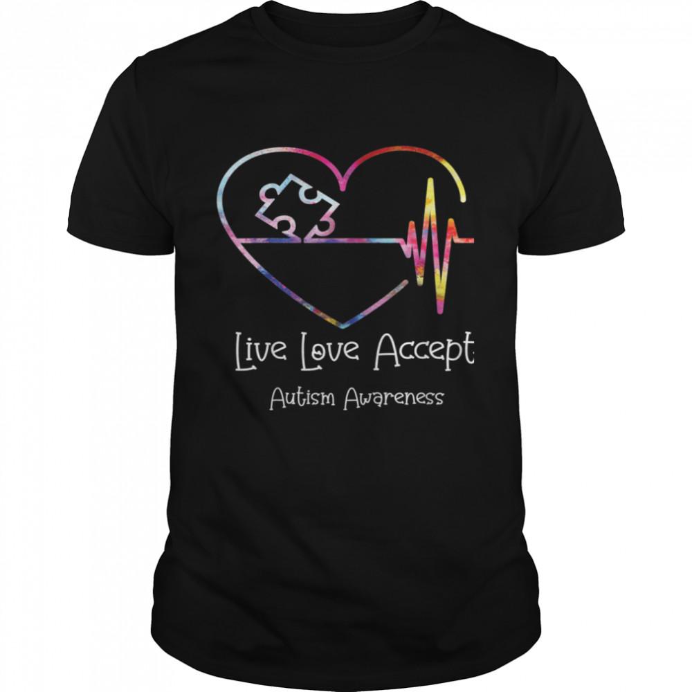 Live Love Accept Autism Awareness Family Matching Apparel shirt Classic Men's T-shirt