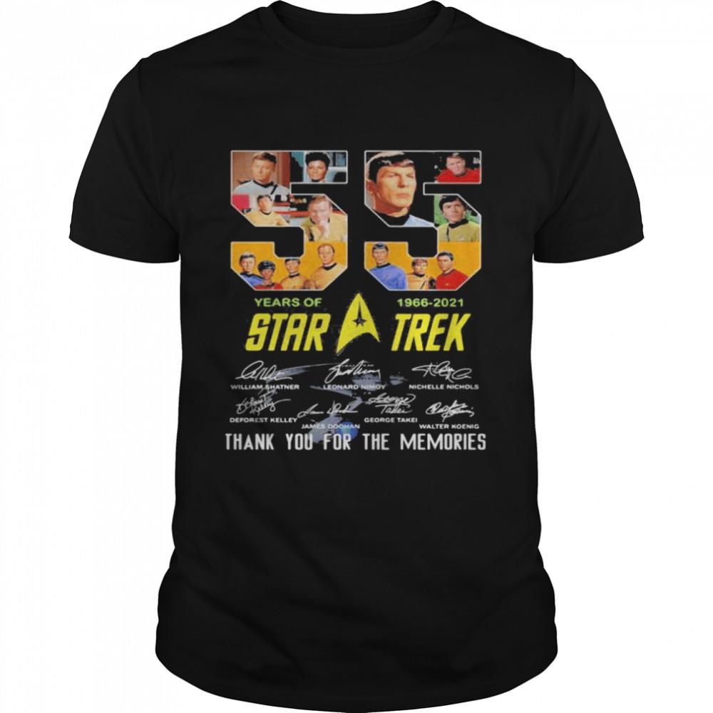55 Years 1966 2021 Star Trek Wars Thank You For The Memories Signature  Classic Men's T-shirt