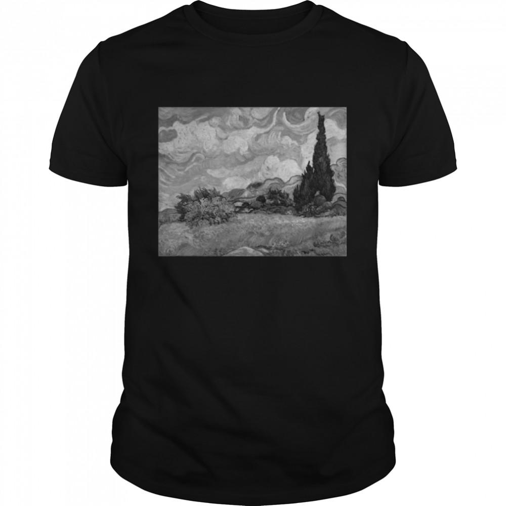 Van Gogh Wheat Field with Cypresses Famous Art Stylish shirt Classic Men's T-shirt