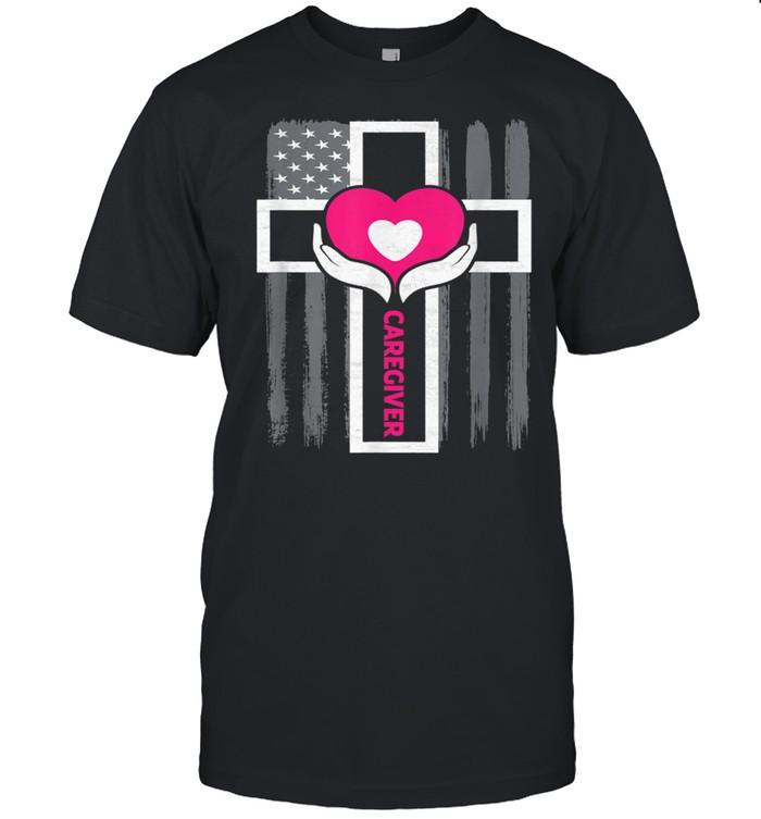 Christian Caregiver Jesus Christ USA Flag Caregiver  Classic Men's T-shirt