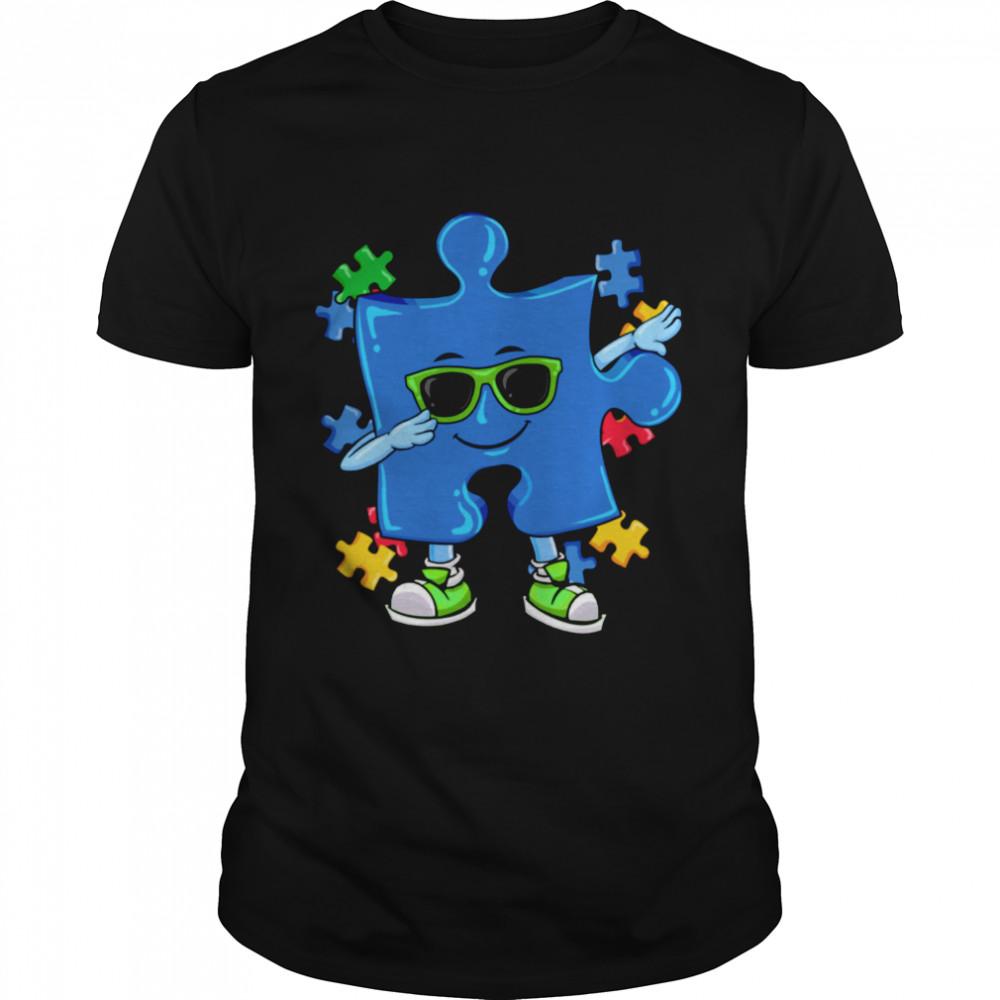 Autism Awareness Dabbing Puzzle  Classic Men's T-shirt