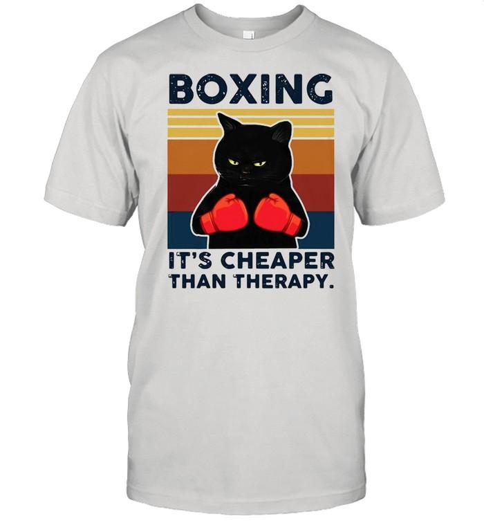 Black cat boxing its cheaper than therapy vintage shirt Classic Men's T-shirt