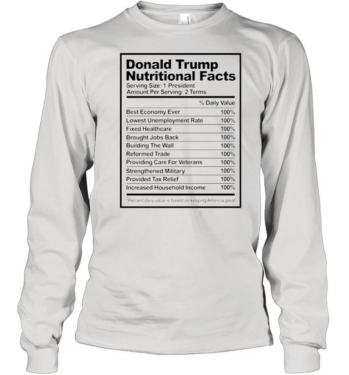 Donald Trump nutritional facts shirt Long Sleeved T-shirt