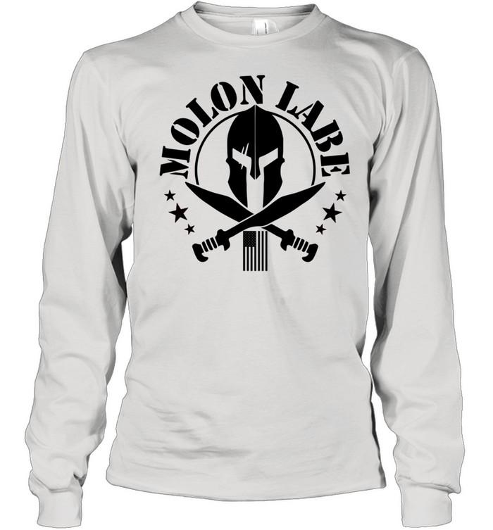 Epic 2A Spartan Molon Labe Patriotic American Flag shirt Long Sleeved T-shirt