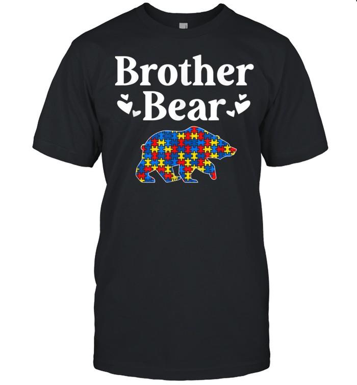 Mens Autism Awareness Brother Bear Puzzle Piece Autistic Sibling shirt Classic Men's T-shirt