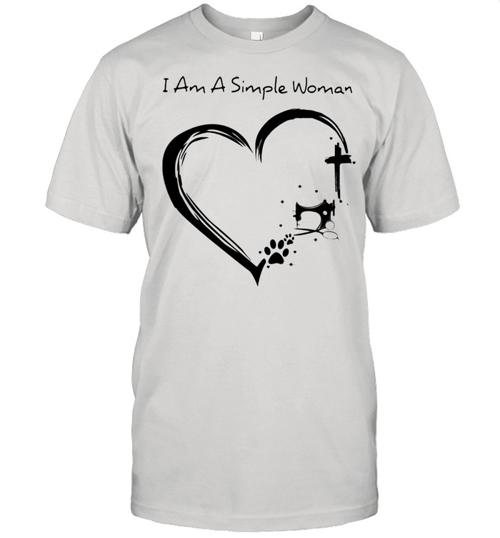 I Am A Simple Woman Dog Sewing And Jesus  Classic Men's T-shirt