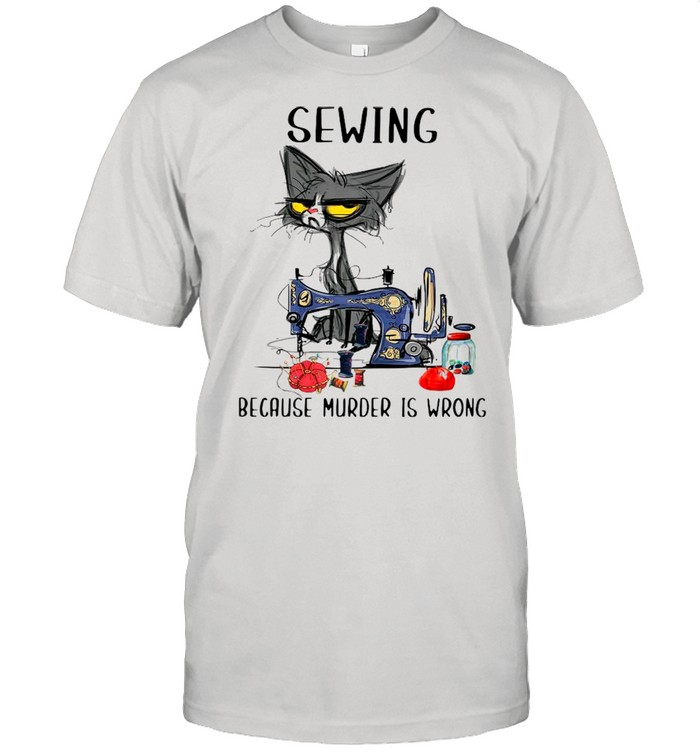 Sewing Black Cat Because Murder Is Wrong shirt Classic Men's T-shirt