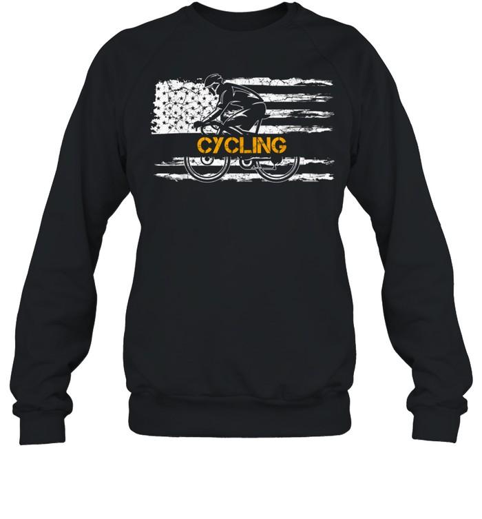 Vintage USA American Flag Cycling Player Cyclist Silhouette shirt Unisex Sweatshirt