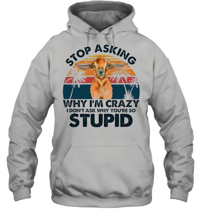 Baby Goat Stop Asking Why I'm Crazy I Don't Ask Why You're So Stupid Vintage shirt Unisex Hoodie