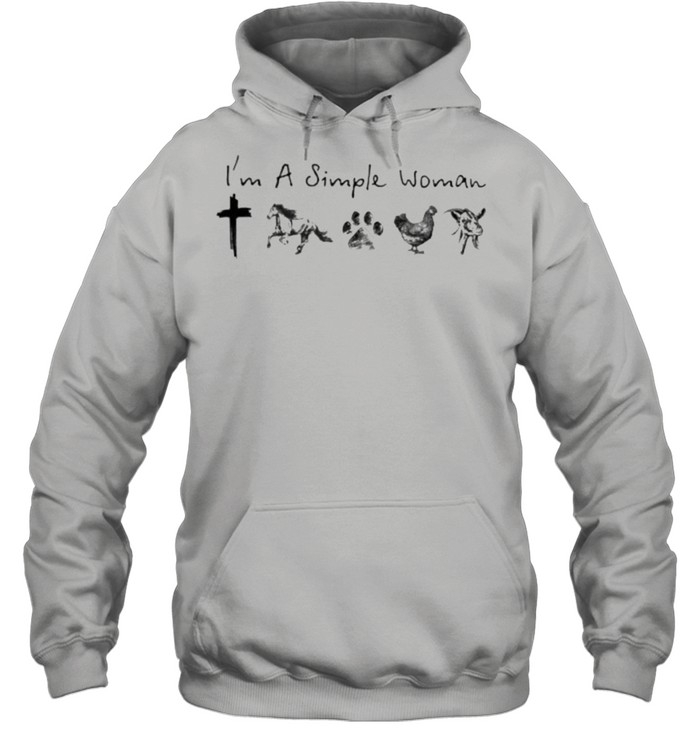 I'm A Simple Woman Jesus Horse Dog Chicken Goat  Unisex Hoodie