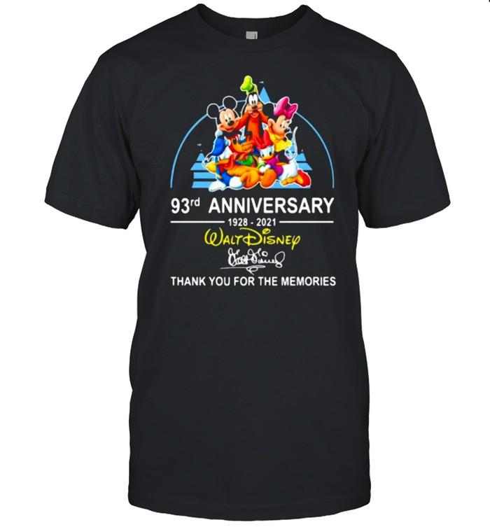 93rd anniversary 1928 2021 Walt Disney thank you for the memories signature shirt Classic Men's T-shirt