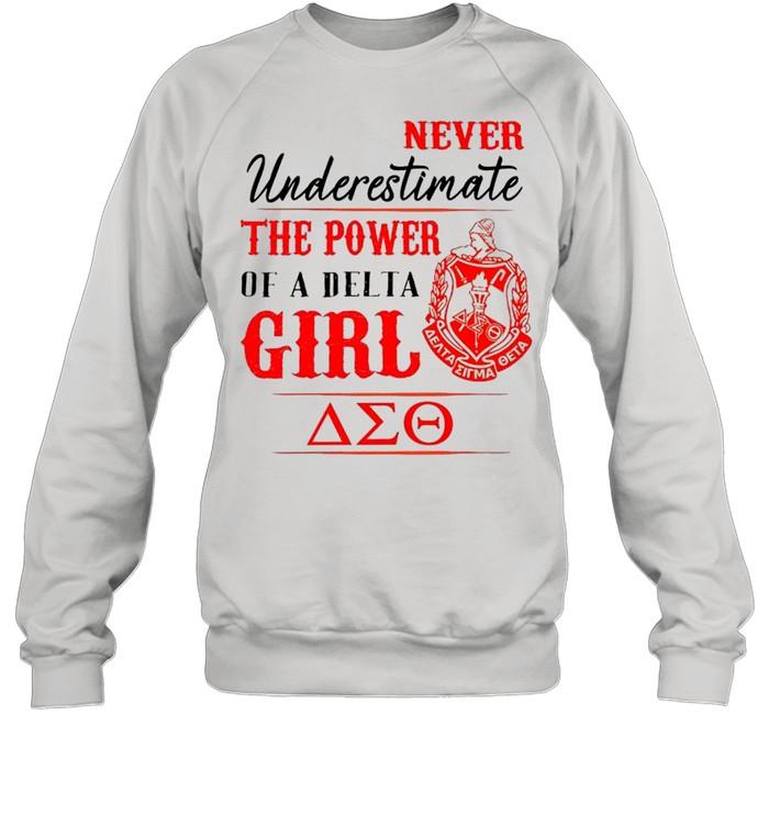 Delta Sigma Theta Never Underestimate The Power Of A Delta Girl shirt Unisex Sweatshirt