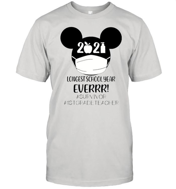 Mickey Mouse Face Mask 2021 Longest School Year Ever #survivor #1stgradeteacher shirt Classic Men's T-shirt