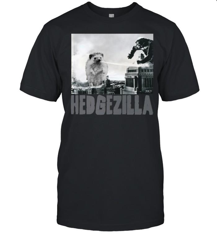 Rare Hedgezilla Hedgehog Hero Newspaper Black & White shirt Classic Men's T-shirt