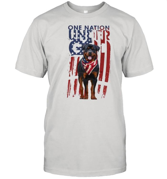 One Nation Under God Rottweiler American Flag  Classic Men's T-shirt