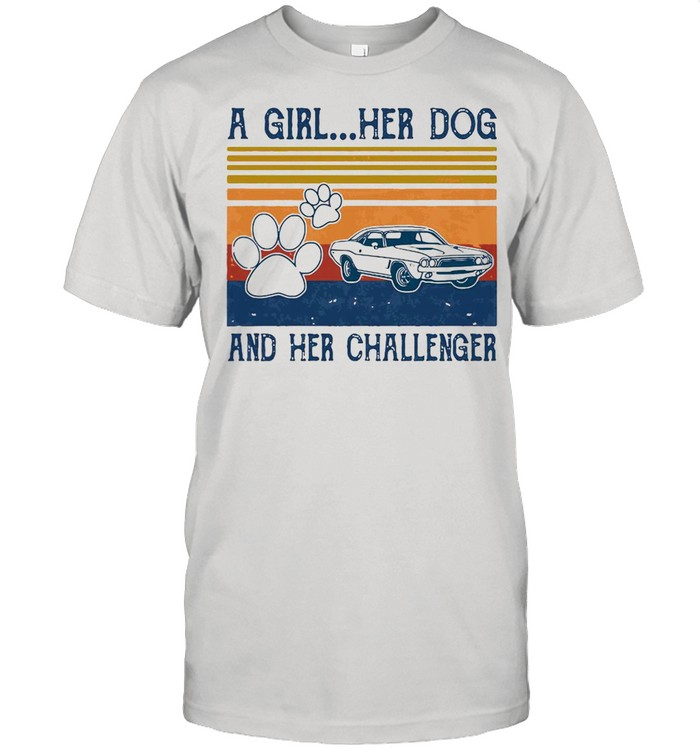 A Girl Her Dog And Her Challenger Footprint Vintage Retro T-shirt Classic Men's T-shirt