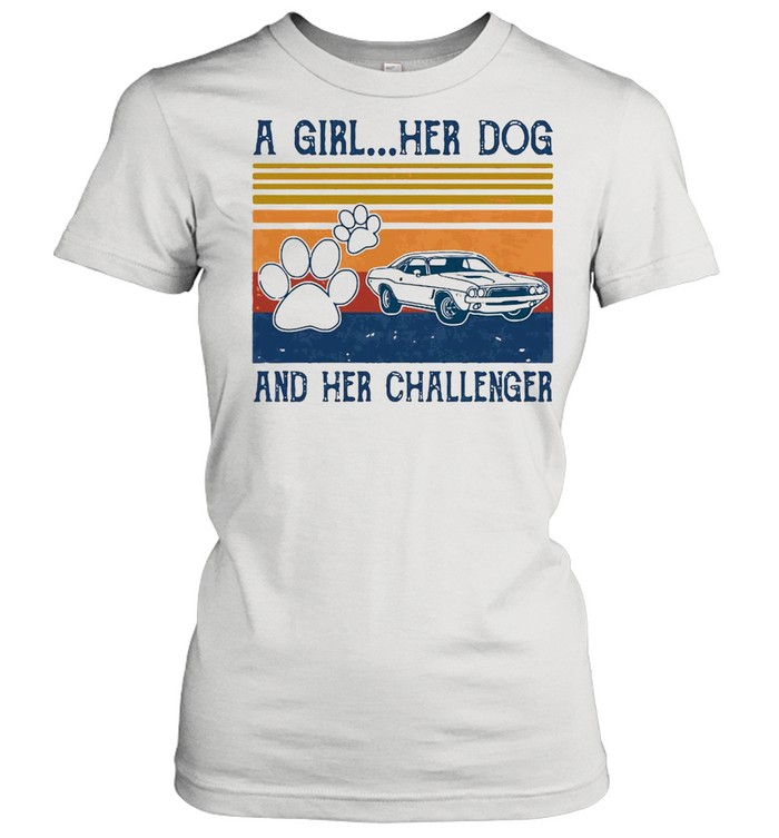 A Girl Her Dog And Her Challenger Footprint Vintage Retro T-shirt Classic Women's T-shirt