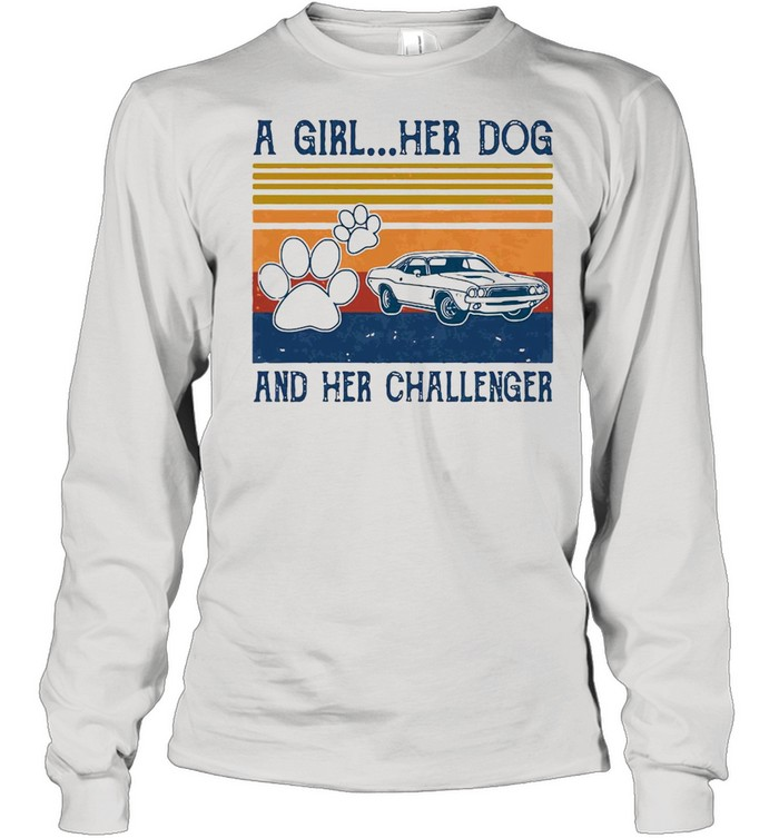 A Girl Her Dog And Her Challenger Footprint Vintage Retro T-shirt Long Sleeved T-shirt
