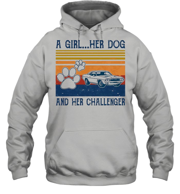 A Girl Her Dog And Her Challenger Footprint Vintage Retro T-shirt Unisex Hoodie