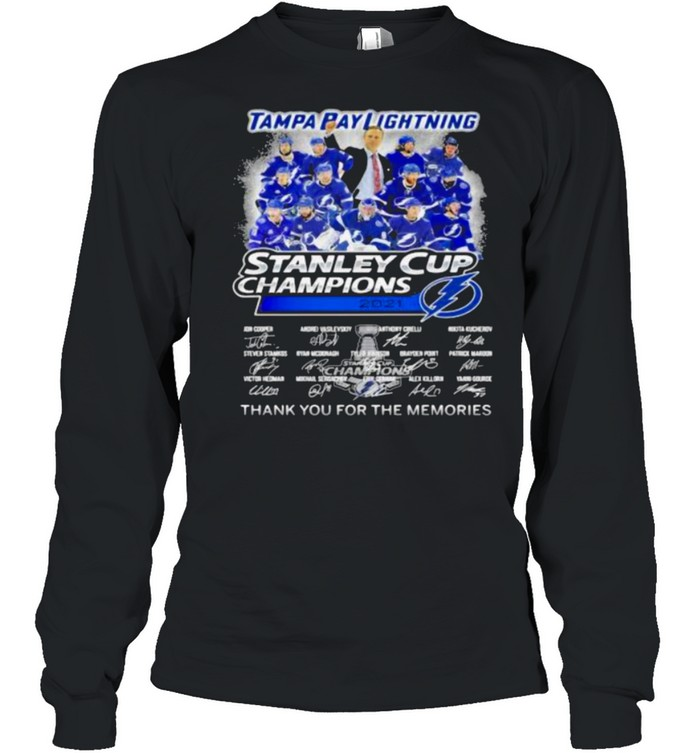 Tampa Bay Lightning Stanley Cup Champion 2021 Thank You For The Memories shirt Long Sleeved T-shirt