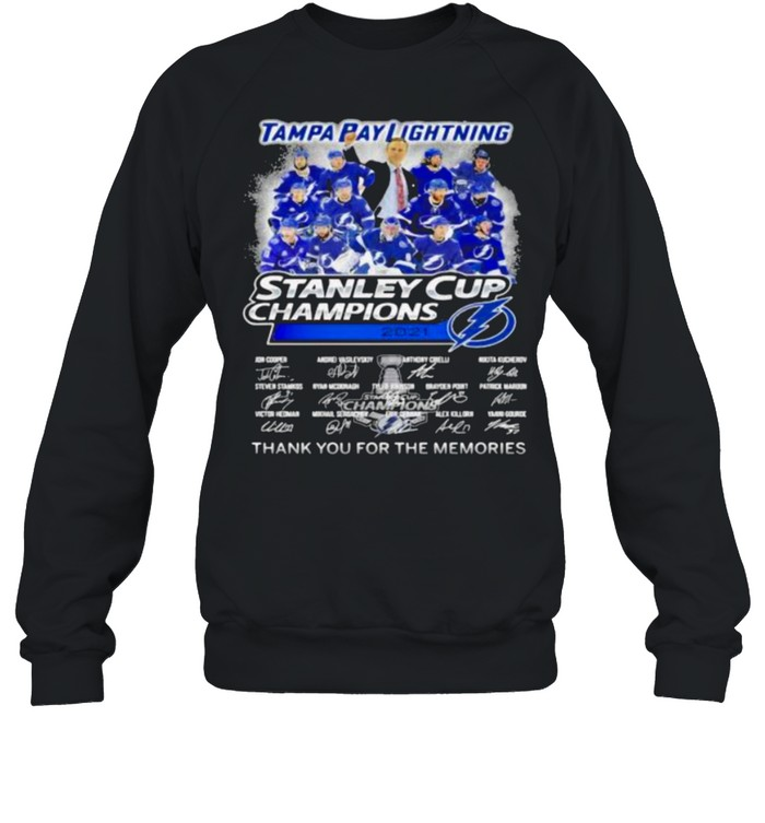 Tampa Bay Lightning Stanley Cup Champion 2021 Thank You For The Memories shirt Unisex Sweatshirt