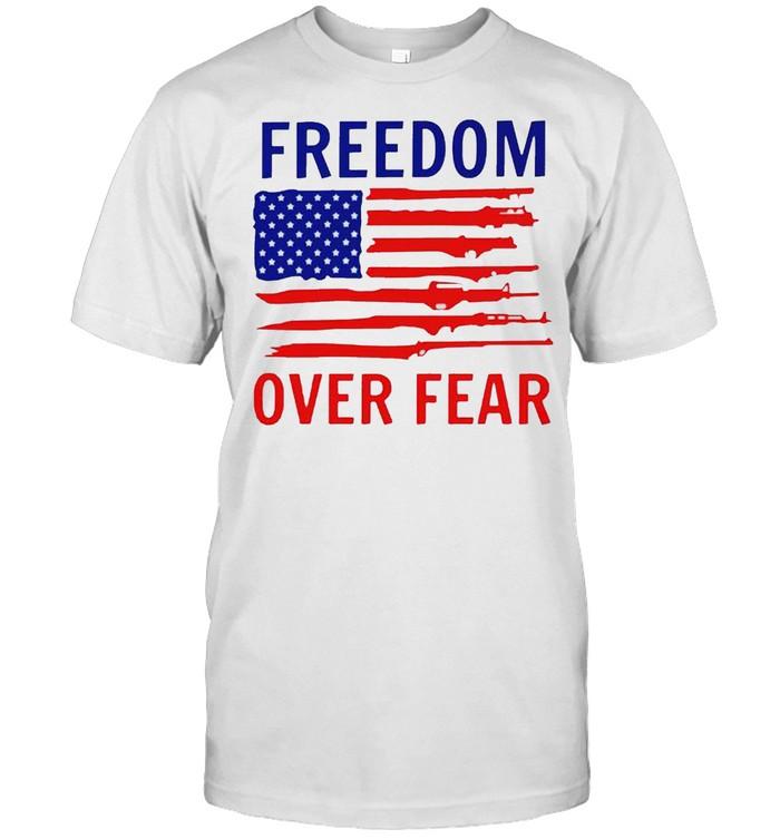 American flag guns freedom over fear shirt Classic Men's T-shirt