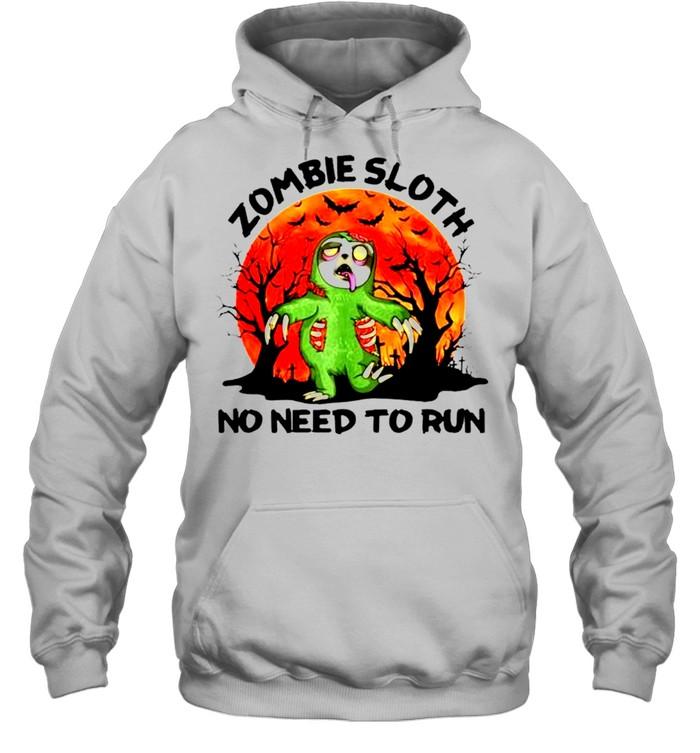 Zombie sloth no need to run Halloween shirt Unisex Hoodie