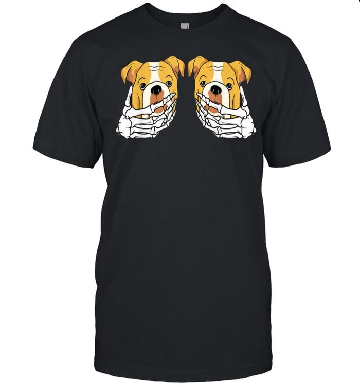 Bulldog Skeleton Hand On Breast Lazy Halloween Costume Dog shirt Classic Men's T-shirt