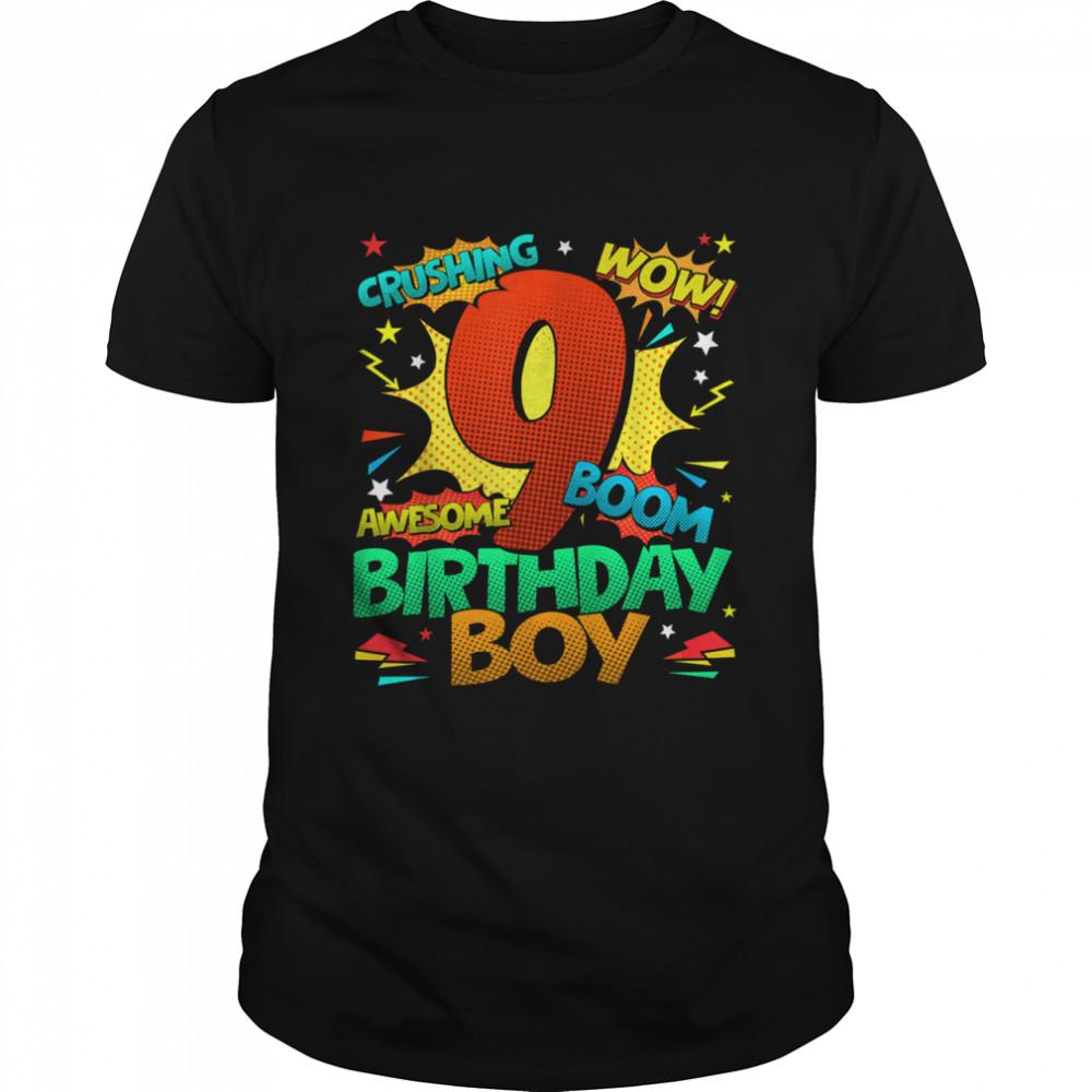 9th Birthday Kids Comic Style Kids Boys 9th Birthday shirt Classic Men's T-shirt