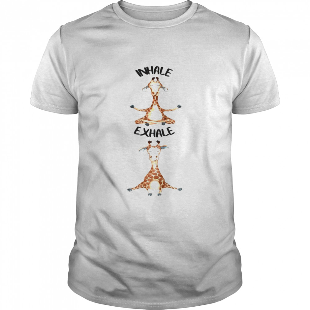 Workout Inhale Exhale Quote Giraffe Yoga Pose Relax  Classic Men's T-shirt